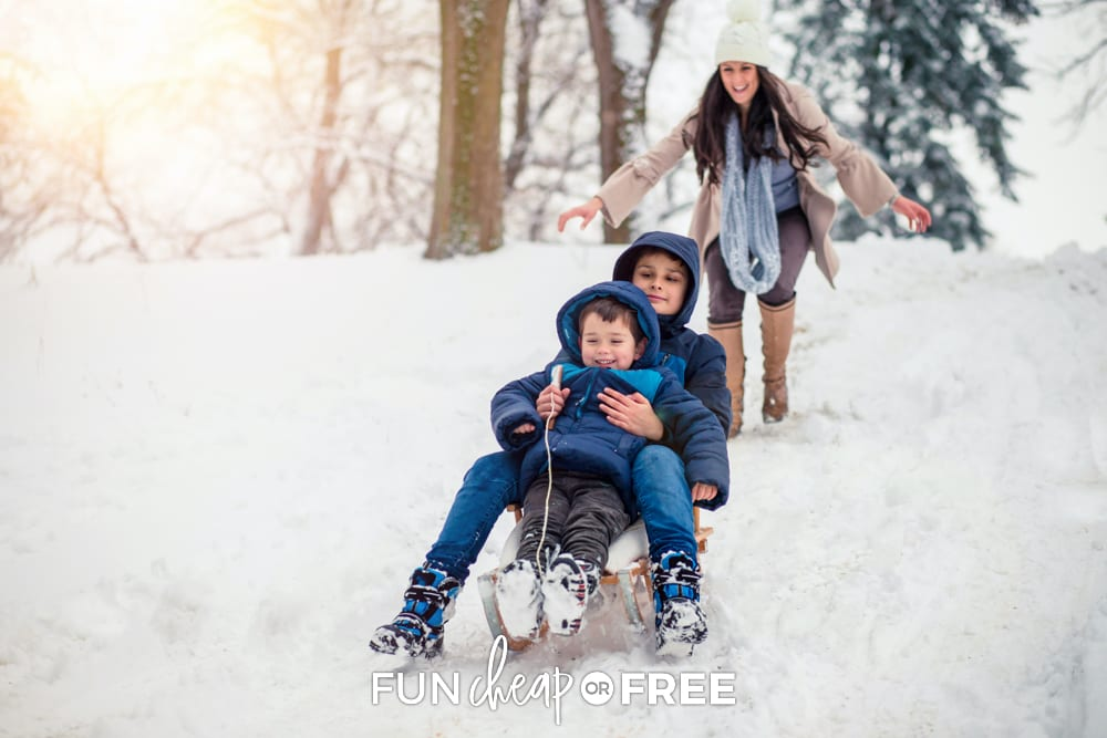 Kids sledding outside, from Fun Cheap or Free