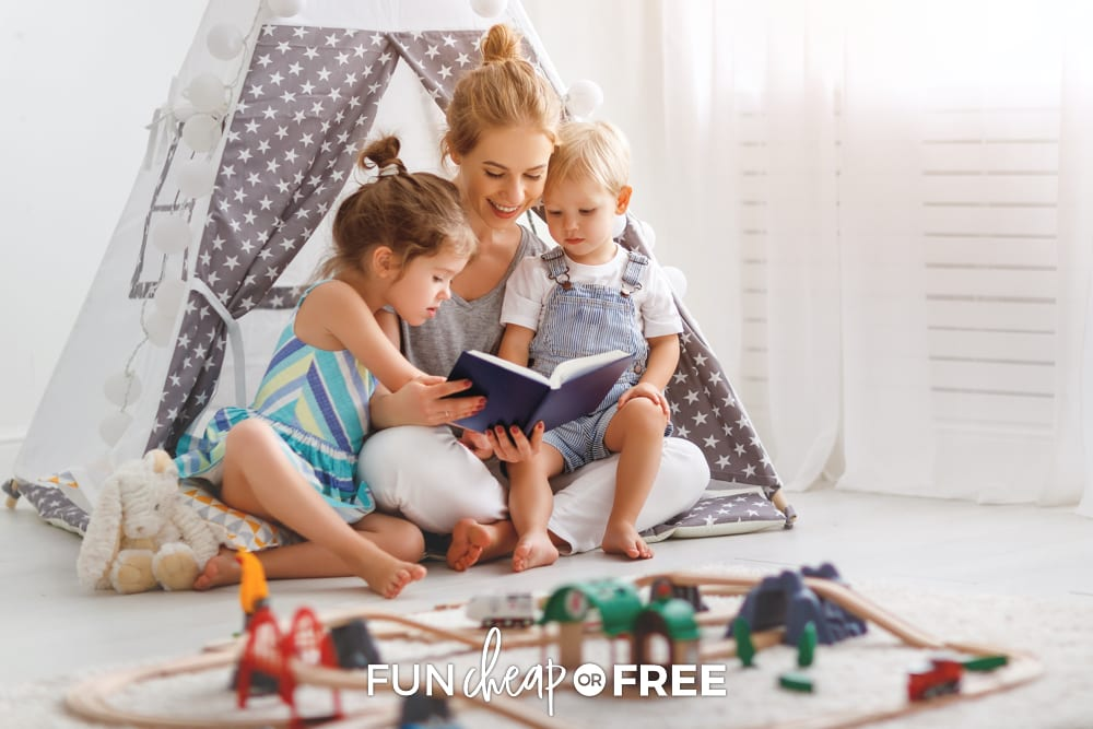 Mom reading to kids in a tent, from Fun Cheap or Free