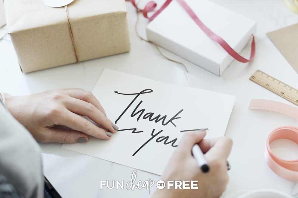 Woman writing thank you notes, from Fun Cheap or Free