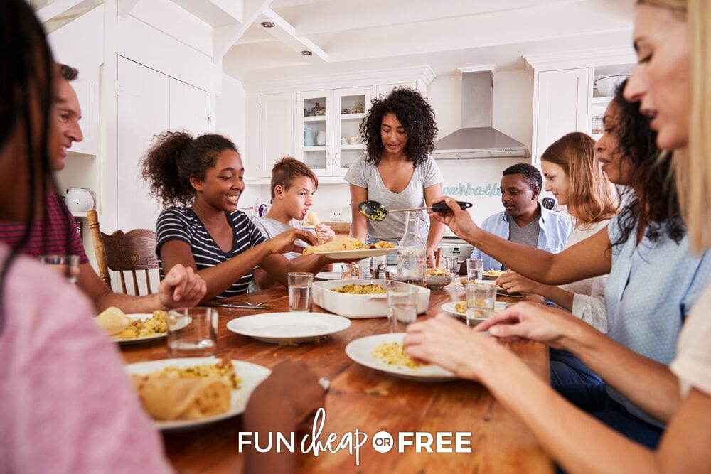 Family and friends eating at a table, from Fun Cheap or Free