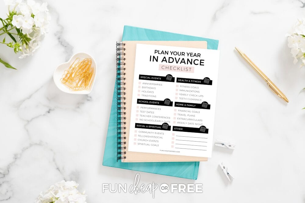 Plan your year in advance checklist on a counter, from Fun Cheap or Free