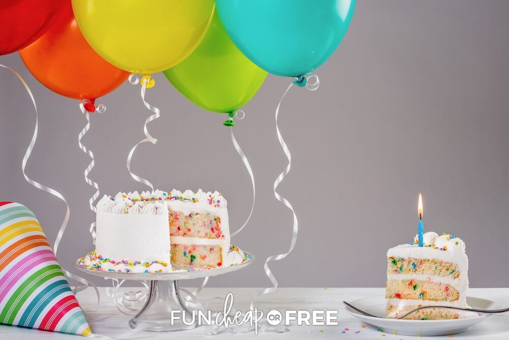 Birthday cake and balloons on a table, from Fun Cheap or Free