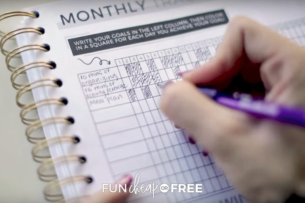 Stay motivated and on track by using a daily or monthly tracker! Tips from Fun Cheap or Free