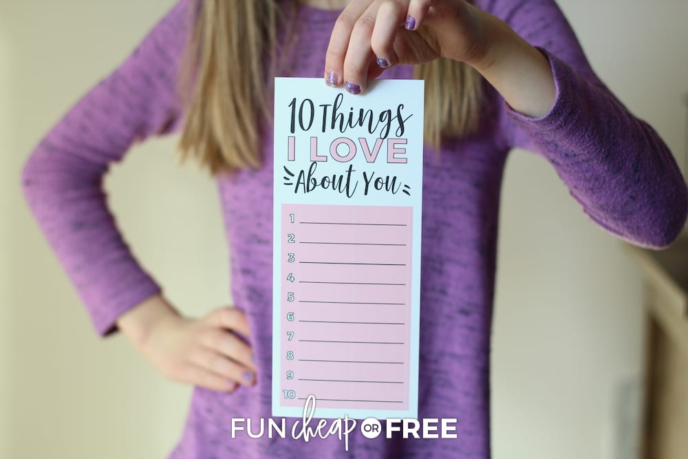 This is such a fun printable that you can fill out for your child and vice versa! Ideas from Fun Cheap or Free