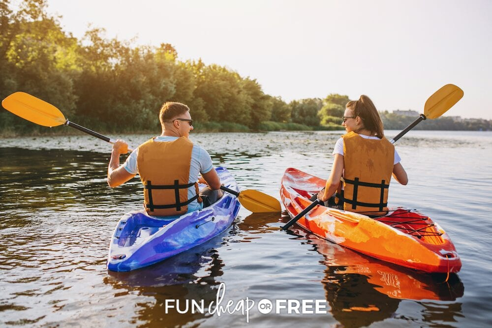 couple kayaking together, from Fun Cheap or Free