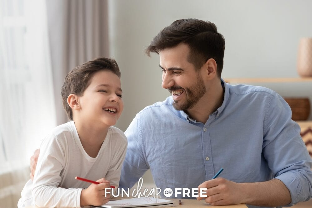 father and son laughing together, from Fun Cheap or Free