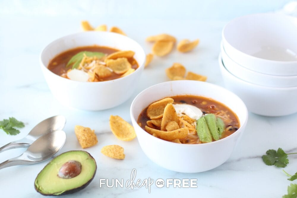 Easy taco soup recipe in a bowl, from Fun Cheap or Free