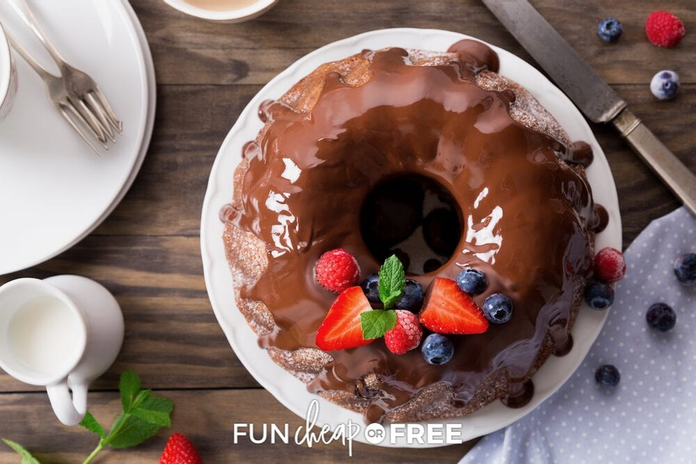 Overhead view of a chocolate bundt cake on a plate, from Fun Cheap or Free