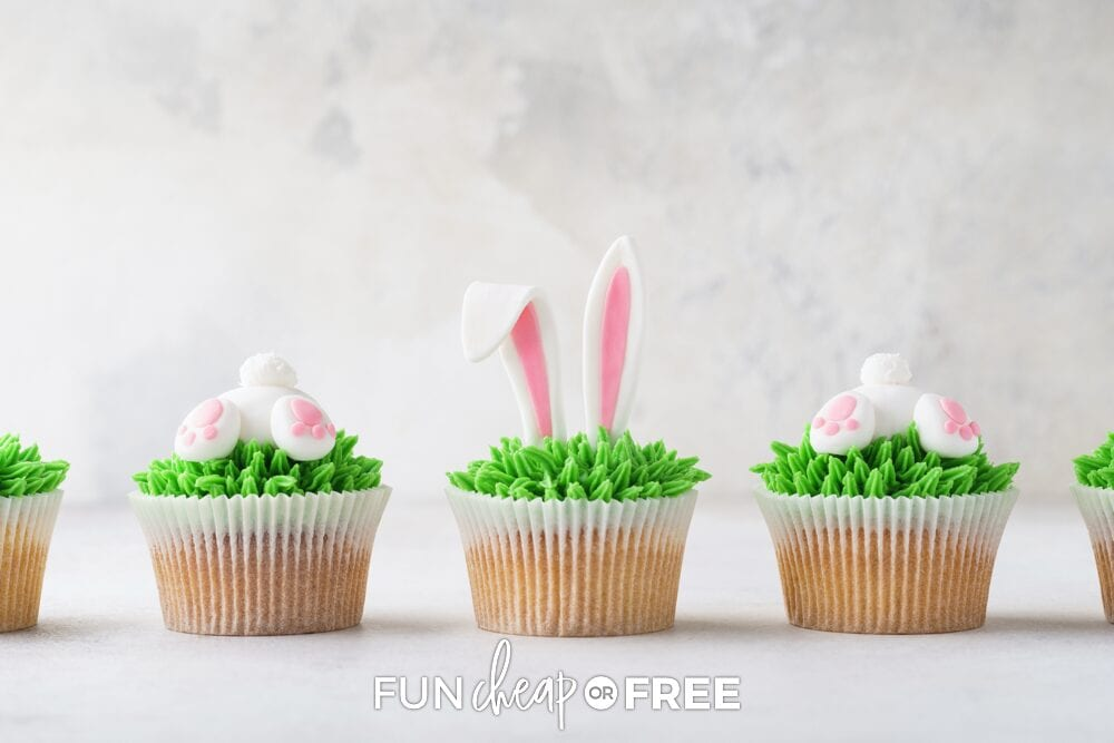 Easter cupcakes in a row, from Fun Cheap or Free
