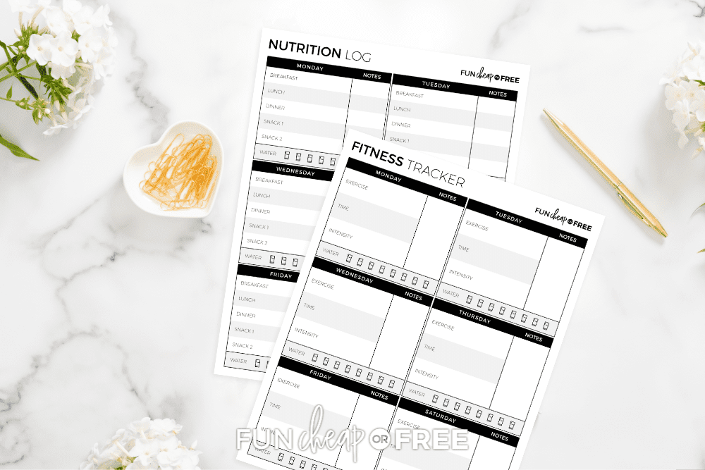 We've got a FREE printable nutrition log and fitness tracker for you so that you can reach those goals quicker! From Fun Cheap or Free