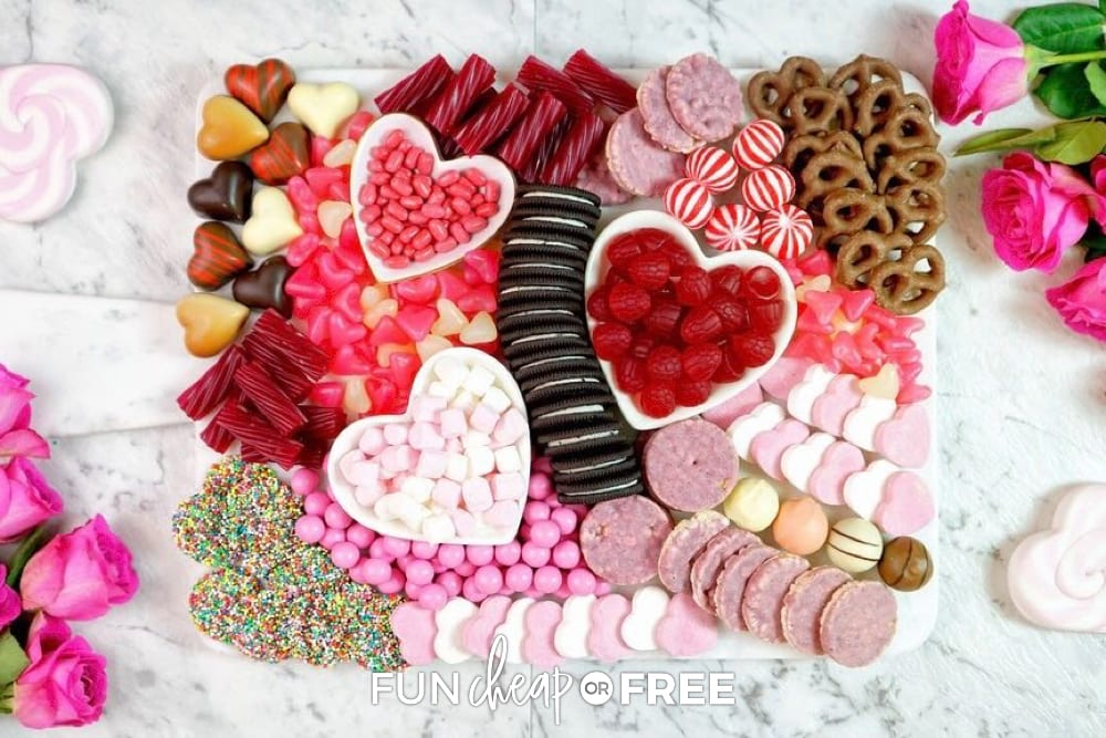 Valentine's Day party food on a platter, from Fun Cheap or Free