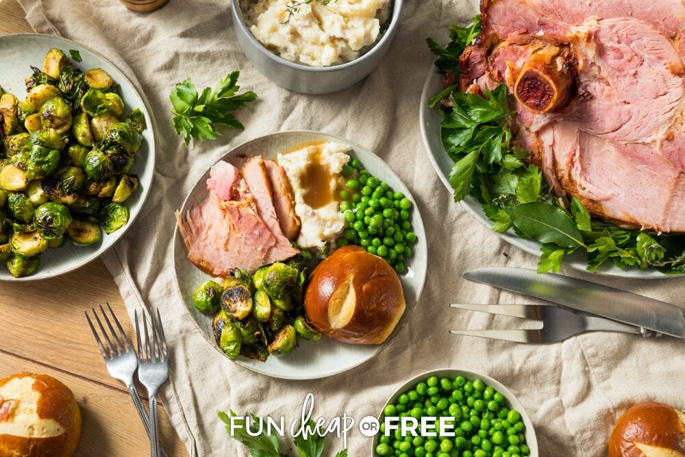Ham dinner and sides on a table, from Fun Cheap or Free