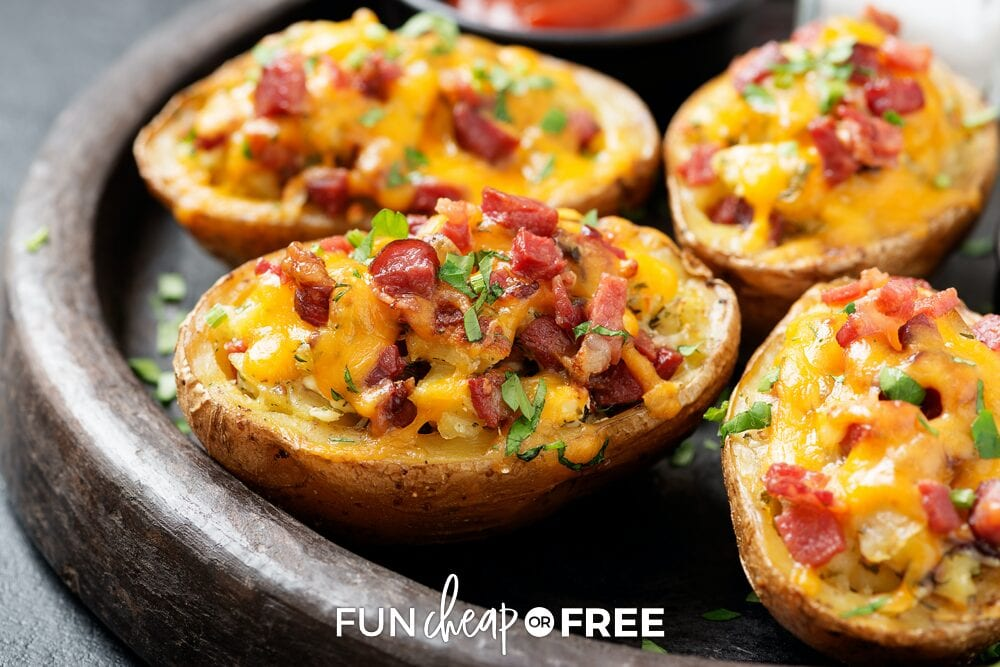 Twice baked potatoes on a dish, from Fun Cheap or Free