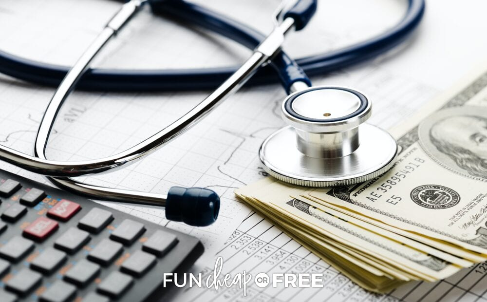 Doctor's stethoscope, money, and a a health savings account sheet, from Fun Cheap or Free