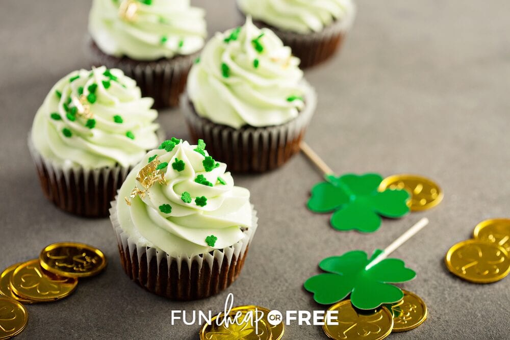 St. Patrick's Day cupcakes on a counter, from Fun Cheap or Free