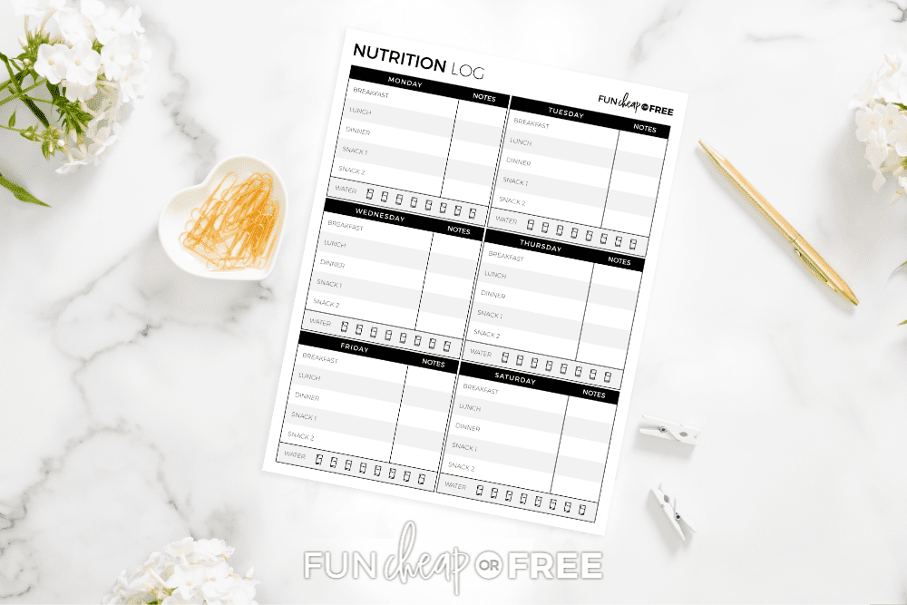 Use the printable nutrition log to keep track of your food for the week - Tips from Fun Cheap or Free