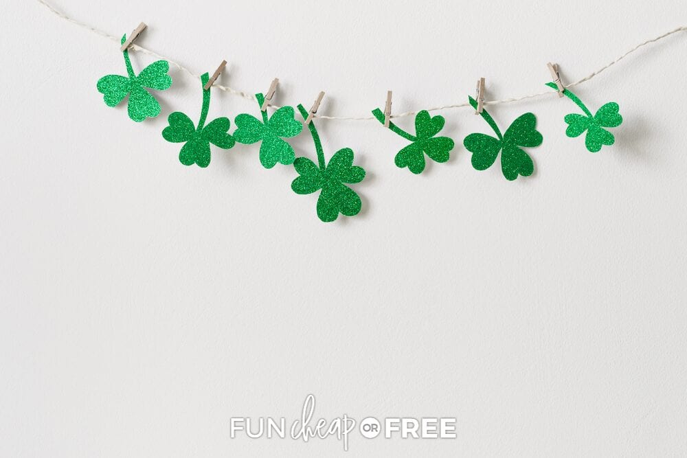 Shamrock decorations on a wall, from Fun Cheap or Free