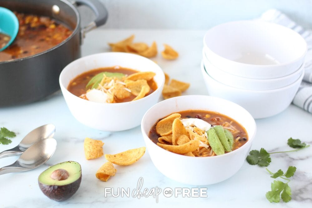 Two bowls of taco soup, from Fun Cheap or Free
