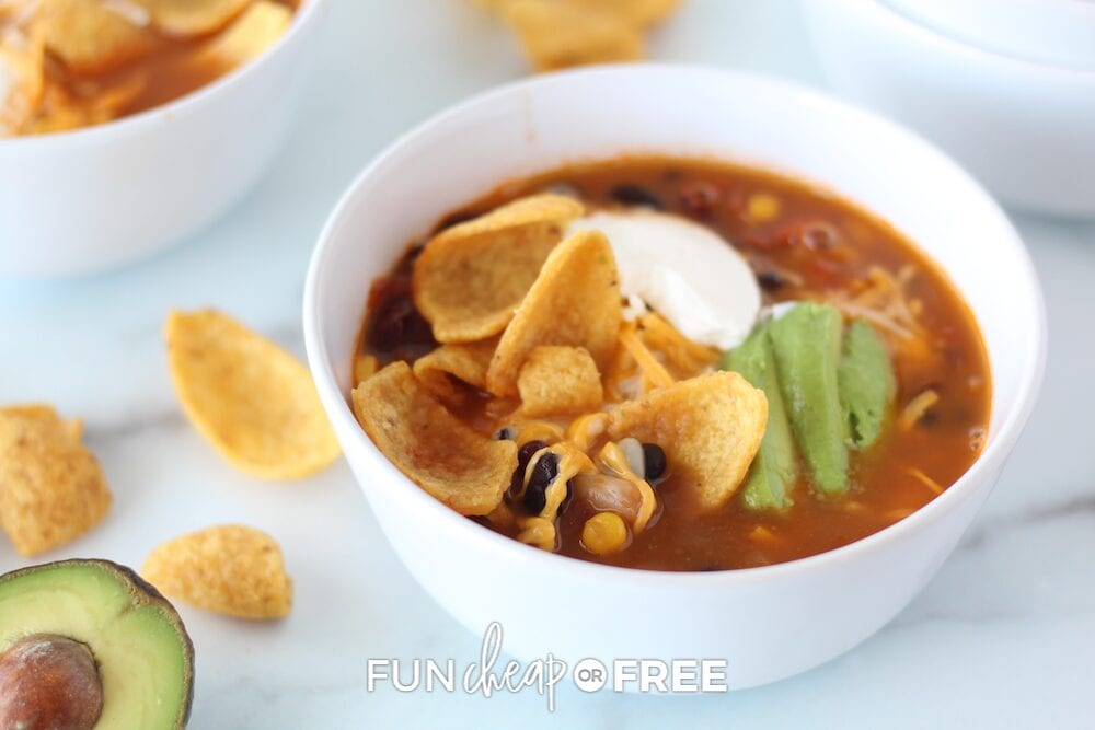 Easy taco soup with chips, from Fun Cheap or Free