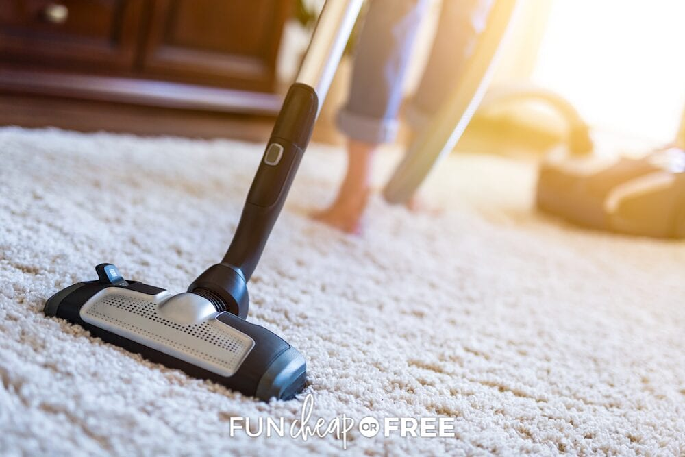 woman vacuuming carpet, from Fun Cheap or Free