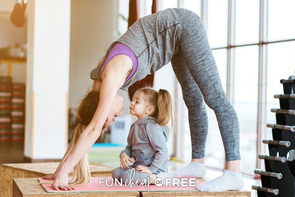 woman working out with child, from Fun Cheap or Free