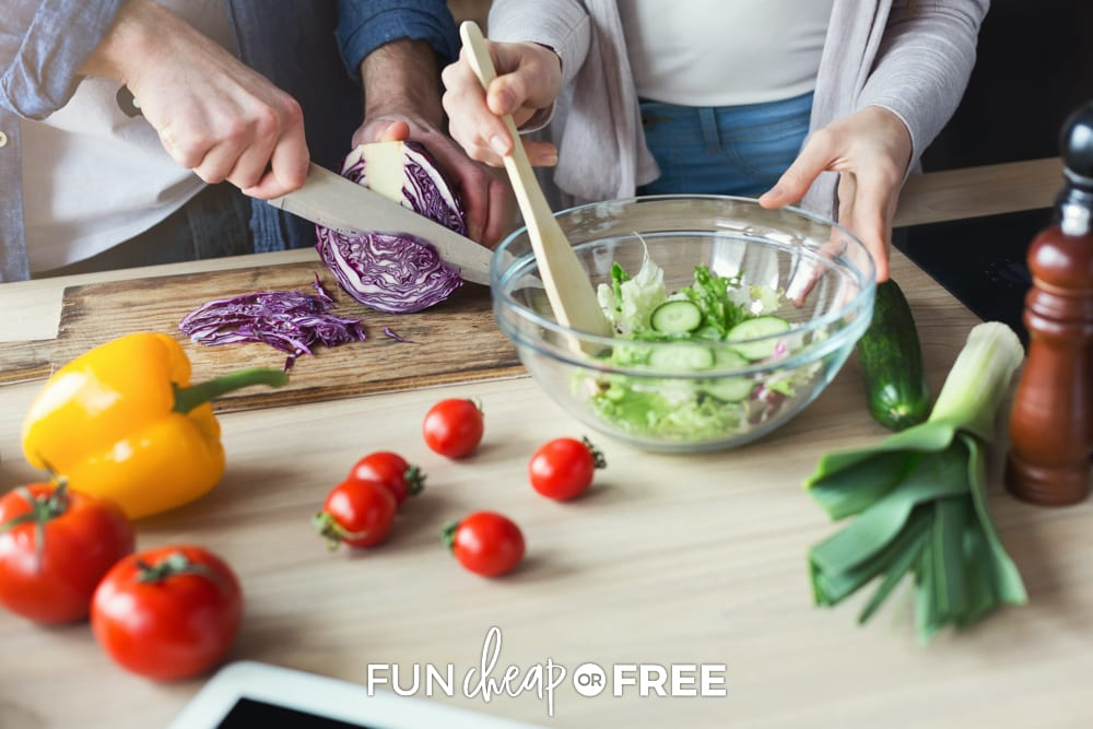 Connect with your spouse and cook together so that you can talk while getting it ready - Fun ways to connect with your spouse from Fun Cheap or Free.