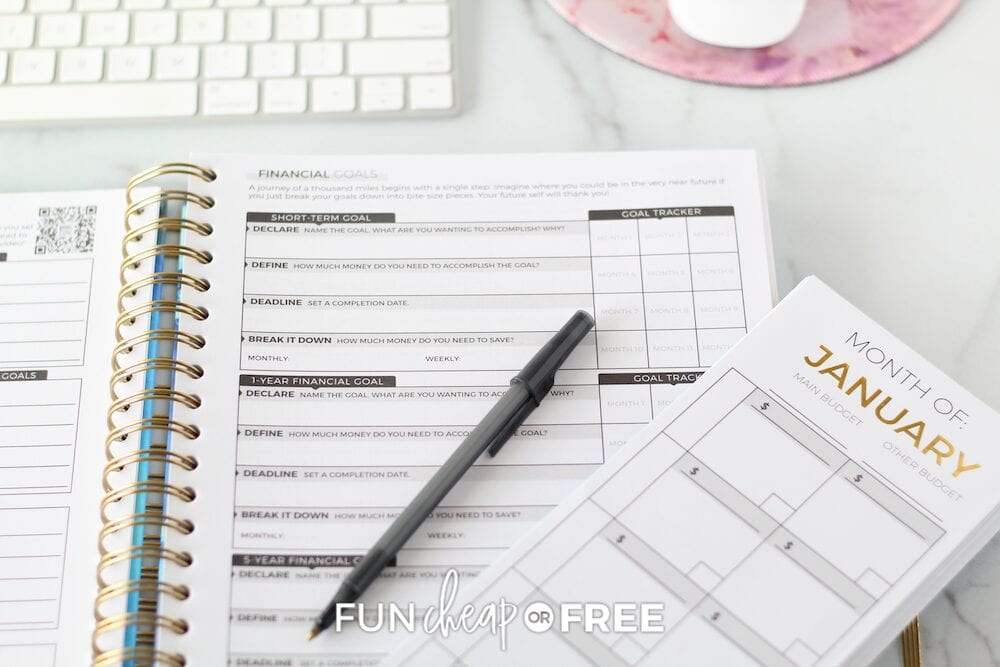 Budget Planner on a desk, from Fun Cheap or Free