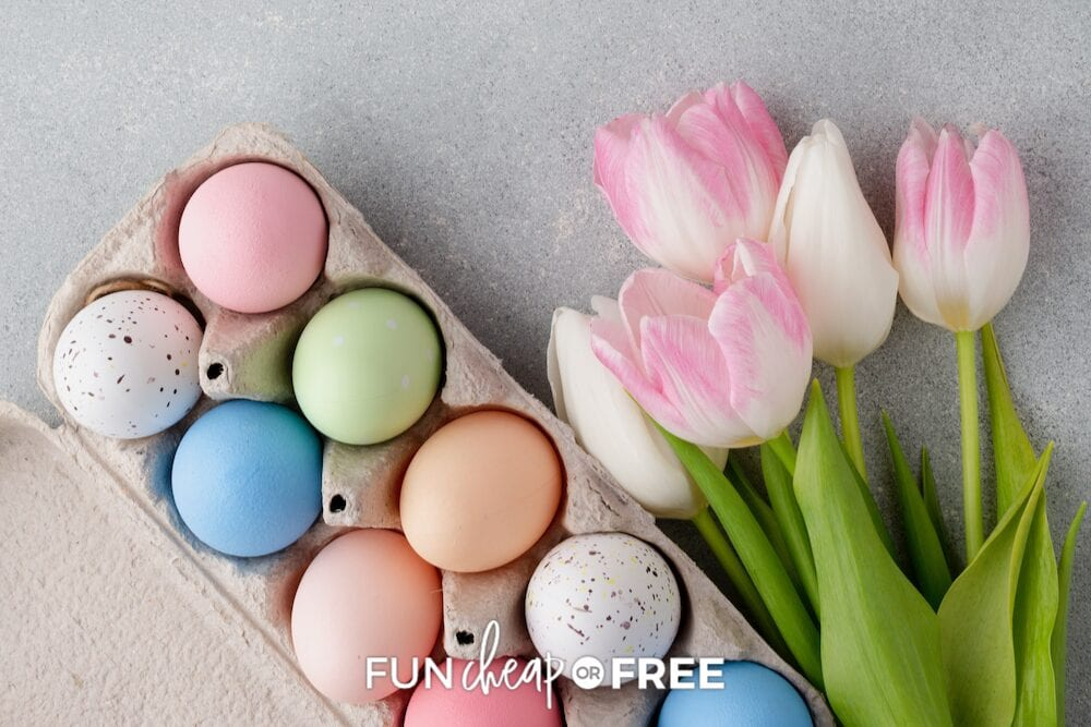 colorful Easter eggs with tulips, from Fun Cheap or Free