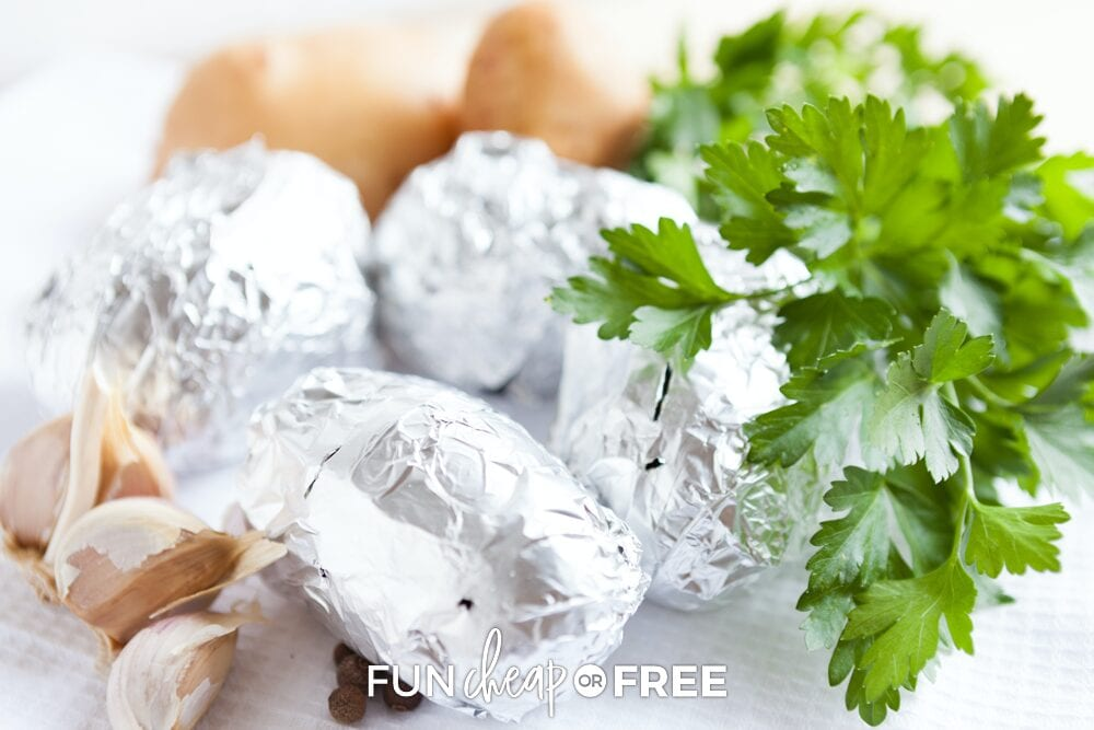 Foil-wrapped potatoes from Fun Cheap or Free