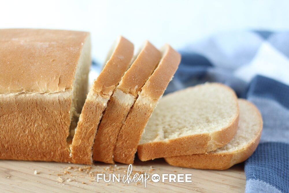 Slices of bread on a cutting board, from Fun Cheap or Free