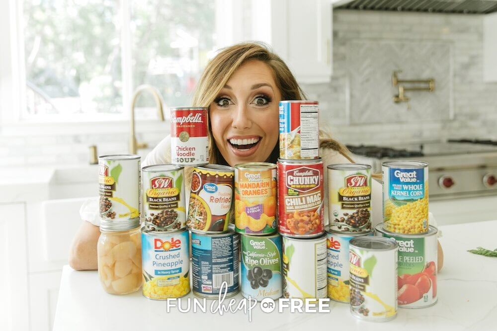 Jordan with a stockpile of canned goods on a counter, from Fun Cheap or Free