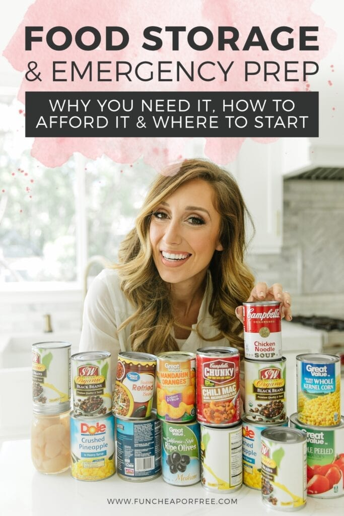 """Jordan with canned goods on a counter, with text that reads """"food storage and emergency preparedness,"""" from Fun Cheap or Free"""