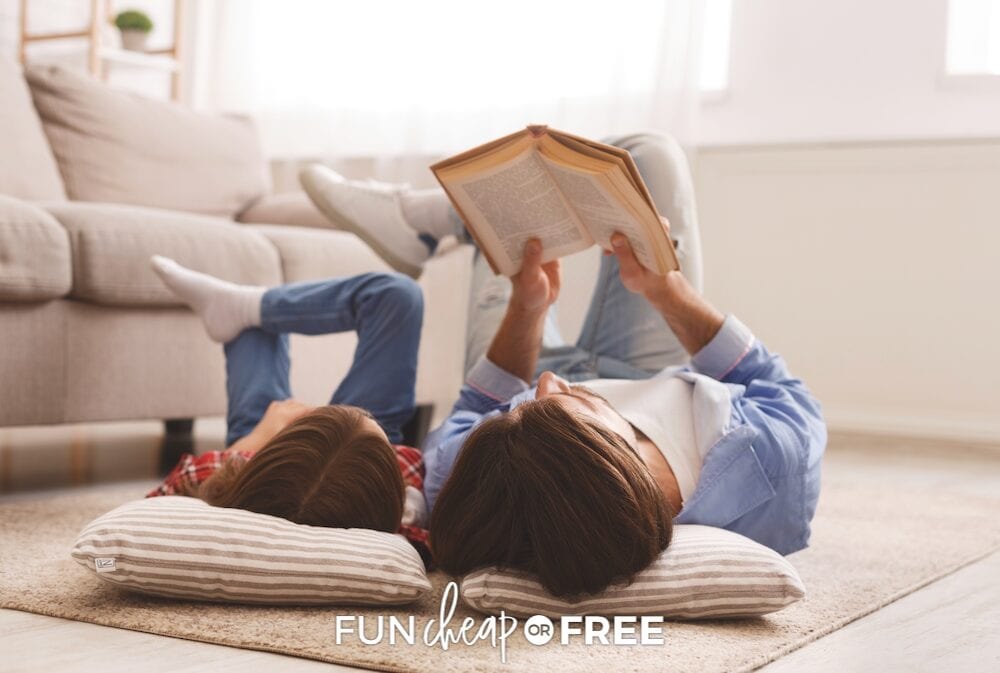 father and daughter reading together, from Fun Cheap or Free