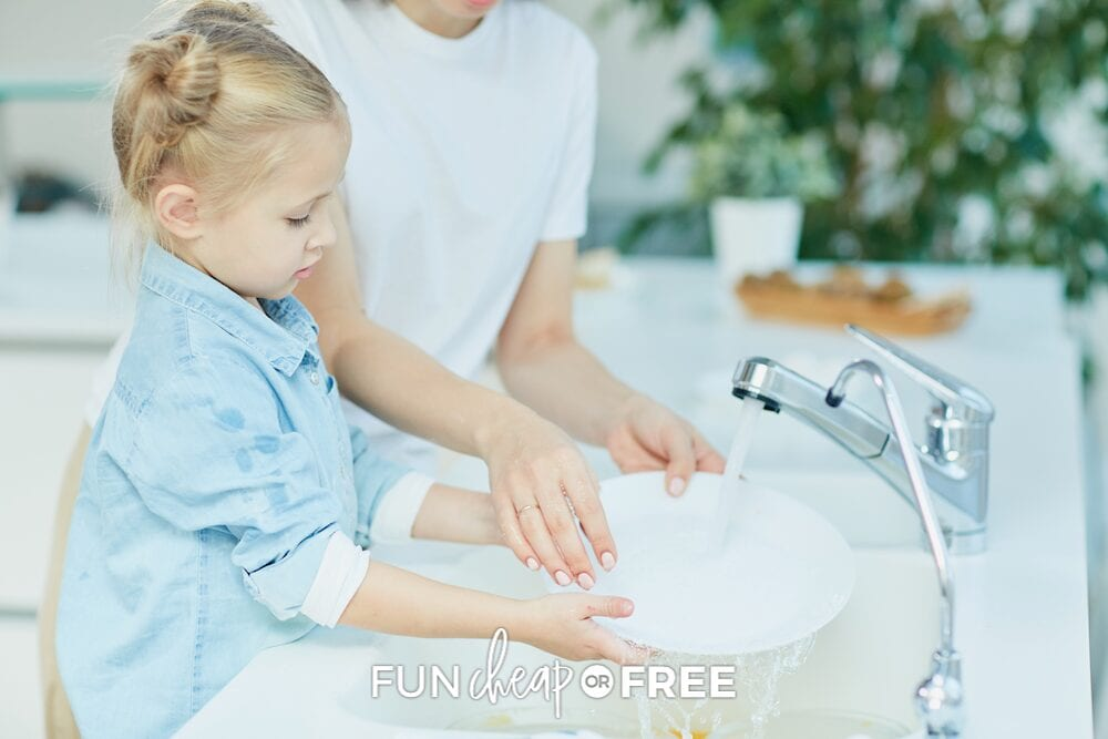 little girl helping mom wash dishes, from Fun Cheap or Free
