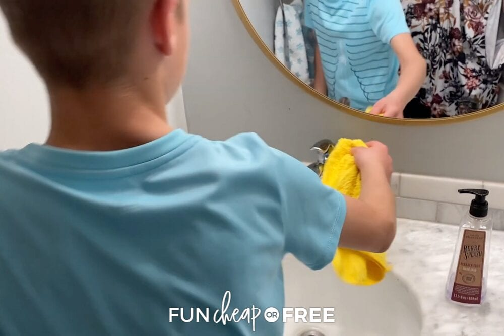 boy cleaning the sink, from Fun Cheap or Free
