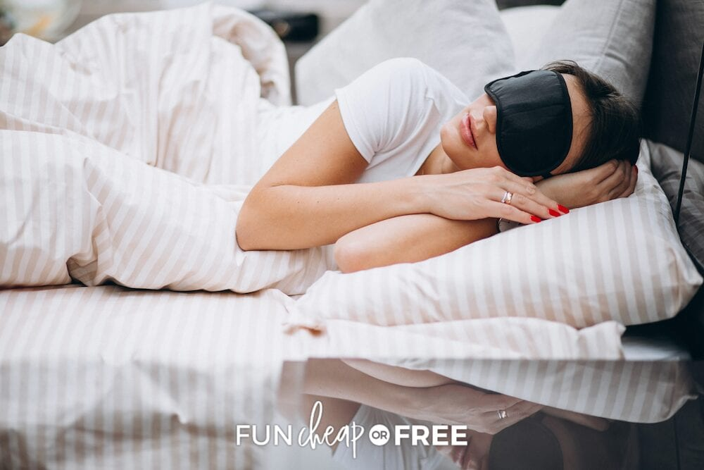 woman sleeping with eye mask, from Fun Cheap or Free