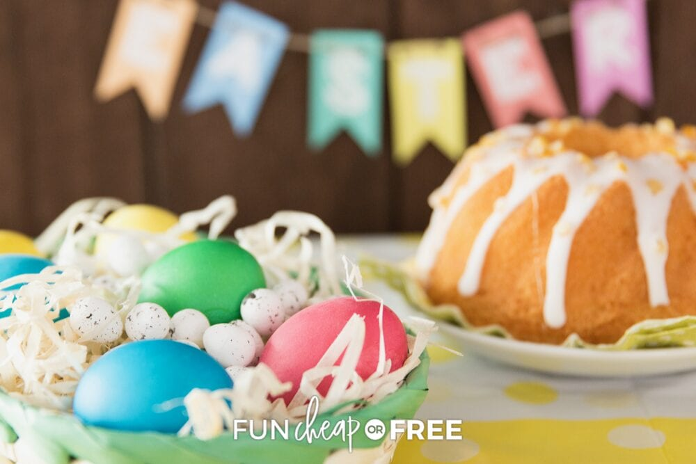 Easter decorations on a table, from Fun Cheap or Free