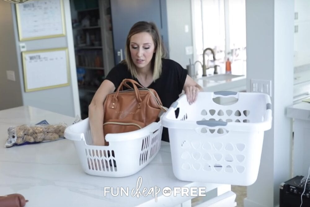 Use the Laundry Basket Trick to tidy your house in 5 minutes! From Fun Cheap or Free