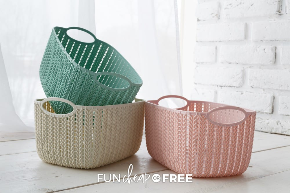 Baskets stacked in the floor, from Fun Cheap or Free