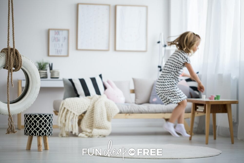 Have your kids hop like a frog to help get some energy out! Ideas from Fun Cheap or Free