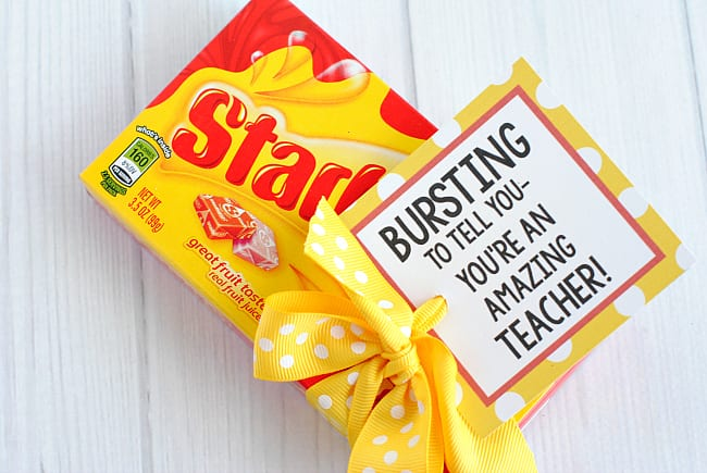 Candy bar gift tags from Crazy Little Projects are one of our favorite teacher appreciation gifts - Ideas from Fun Cheap or Free