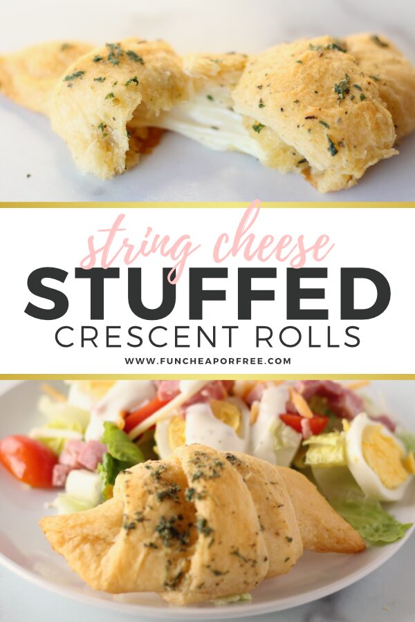 String cheese stuffed crescent rolls on a plate, from Fun Cheap or Free