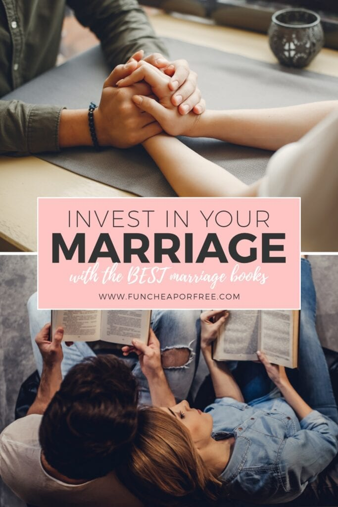 The BEST marriage books to invest in! Make time to read with your spouse and see how it strengthens your relationship. Ideas from Fun Cheap or Free