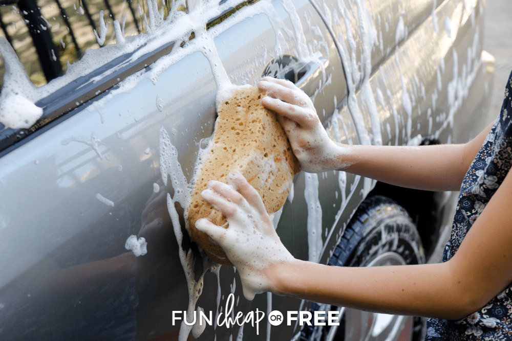 Learn how to clean the outside of your car with a DIY at home car wash from Fun Cheap or Free!