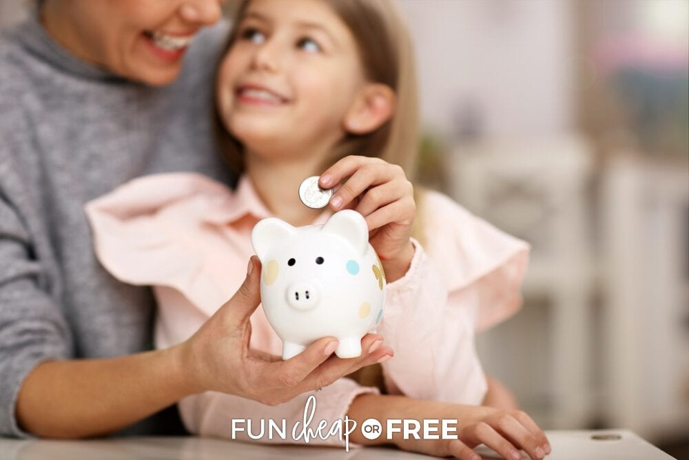 girl putting money in piggy bank, from Fun Cheap or Free