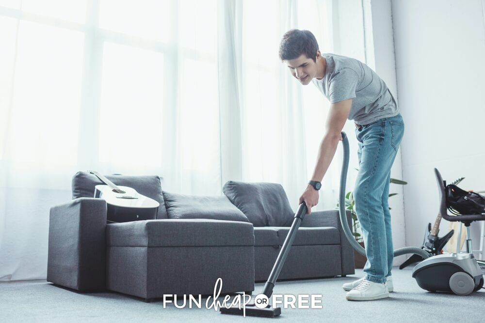 teenager vacuuming the floor, from Fun Cheap or Free