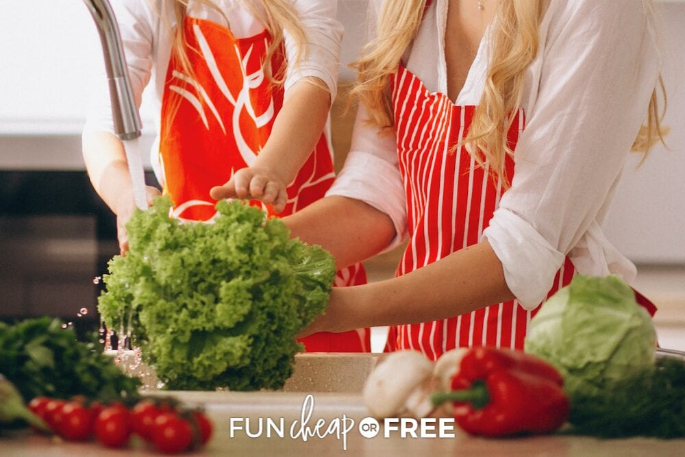 Mom and daughter washing vegetables, from Fun Cheap or Free