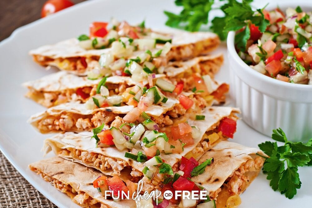 Quesadillas using leftover chicken taco on a plate, from Fun Cheap or Free
