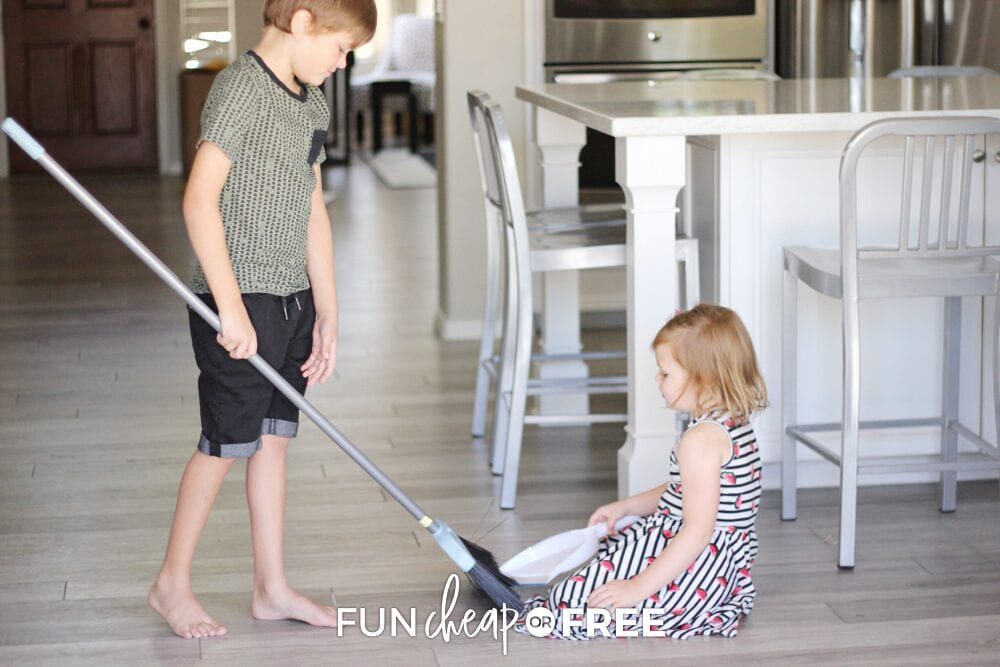 Have the whole family pitch in to help clean up when there are messes around - Daily activities with Fun Cheap or Free