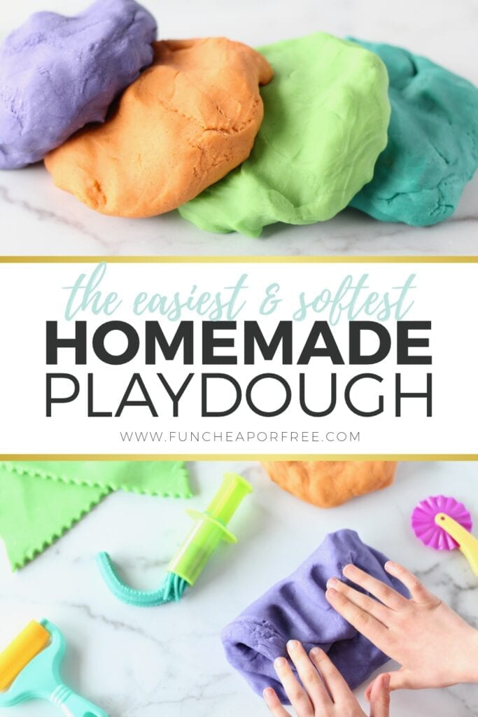 "Image with text that reads ""easy homemade playdough"" from Fun Cheap or Free"